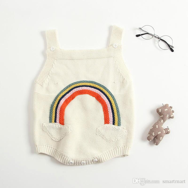 1603a9beb 2019 Everweekend Baby Girls Rainbow Knitted Sweater Rompers Candy Beige  Color Cute Toddler Infant Baby Fashion Autumn Clothing From Smartmart, ...