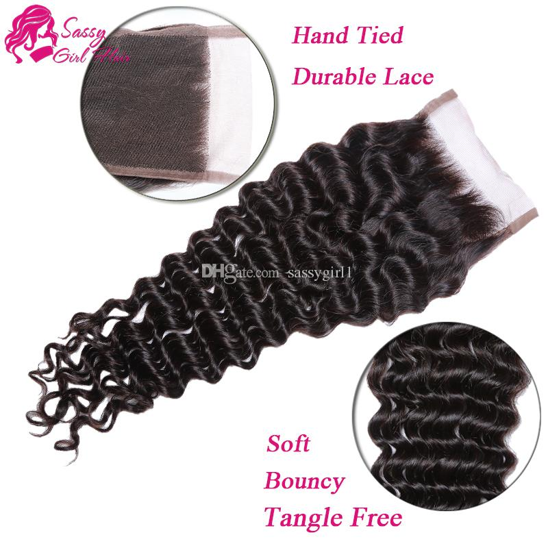 "7A Brazilian Deep Wave Closure 4""x4"" Virgin Brazilian Human Hair Free Part Three Middle Top Lace Closure 8""-22inch SASSY GIRL"