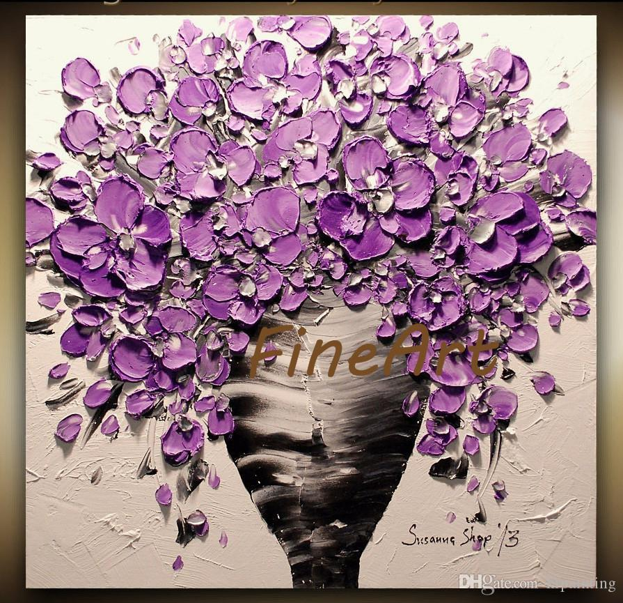 palette knife purple flower painting knife oil canvas Bouquet in Vase handmade modern canvas wall art wall designer canvas unique gifts Kung