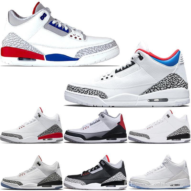 finest selection e7965 2b550 Acheter Nike Air Jordan 3 3s Retro Chaussures De Basket Ball Hommes Katrina  Tinker JTH NRG Noir Ciment Libre Ligne De Lancer Pure White True Bleu Rouge  ...