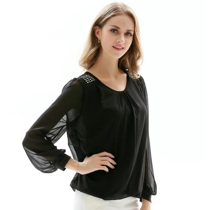 ce99c04316e412 2019 Chiffon Blouse Women Shirt Spring Elegant Long Sleeve Black White  Office Formal Pullover Tops For Women Casual Looses Shirts 4XL From Enkk