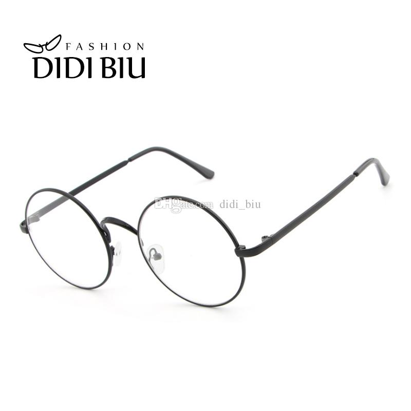 754a8c57a660 DIDI Round Clear Lens Eyeglass Frame Retro Thin Metal Optical ...
