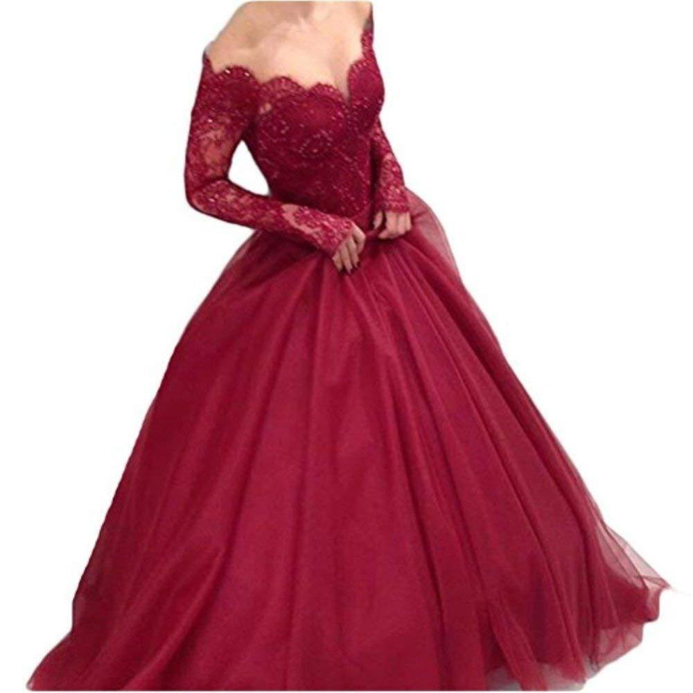 Women S Off Shoulder Lace Prom Dress Long Sleeves Ball Gown For Bride  Formal Dress Women Elegant Vestidos De Festa Robe Soiree Tony Bowls Prom  Dresses ... dafea9f115