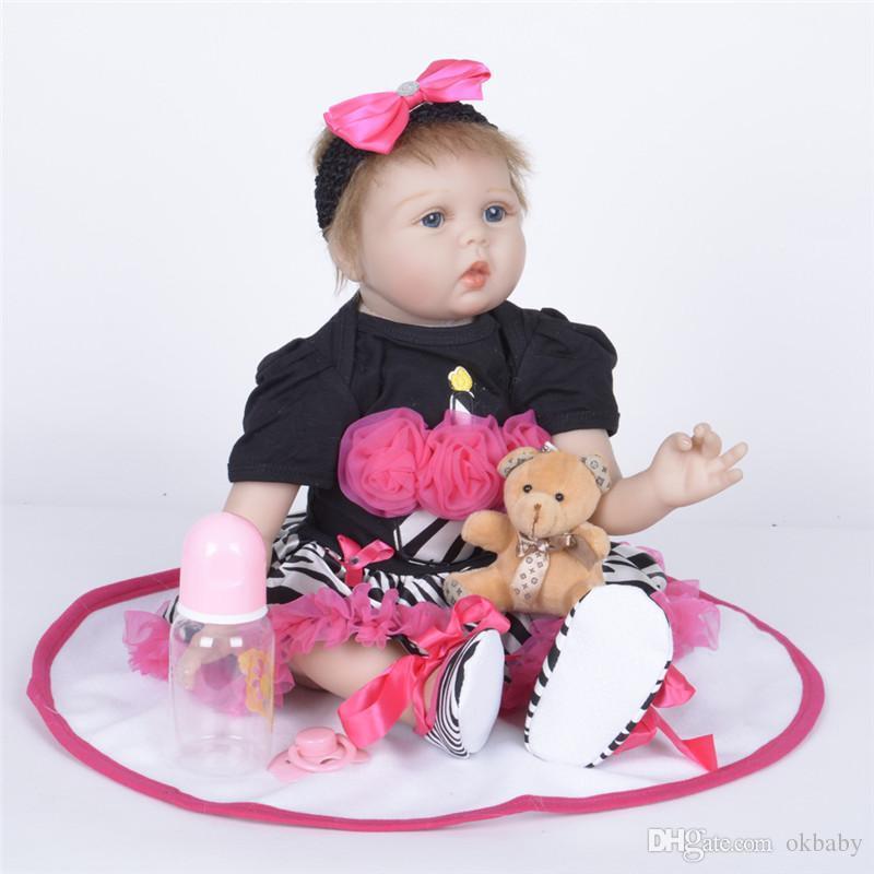 New 46cm Vinyl Silicone Lifelike Reborn Baby Doll With Blanket Kids Pretend Play Toy Dolls & Stuffed Toys