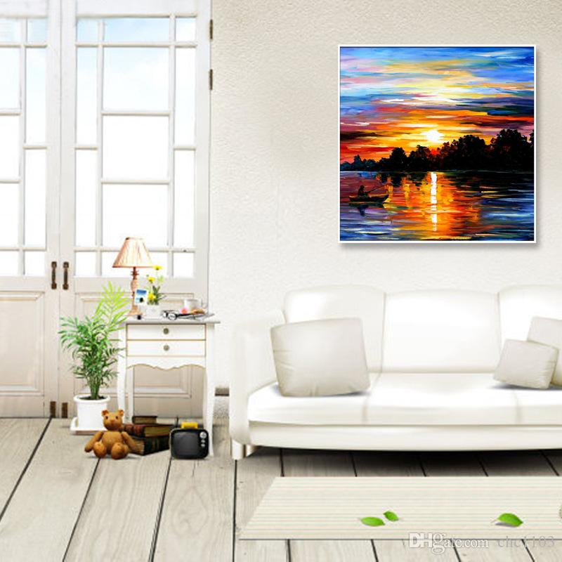 Knife painting oil painting modern the beach and the boat Home decoration on canvas abstract painting art paintings KOP-042