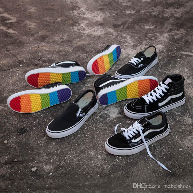 5c1a8064c1723f 2018 Old Skool DT Canvas Shoes Sk8 Hi Slip On 2018 Fashion Deisgner Black  White Rainbow Sole Casual Shoes Without Box Munro Shoes Pink Shoes From  Mabelshoes ...
