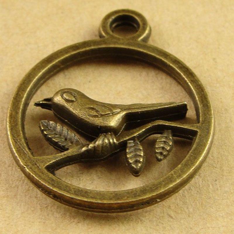 A3863 20MM Antique Bronze Retro bird charms mobile phone accessories jewelry pendant South Korea, brass tibetan silver magpie pendants