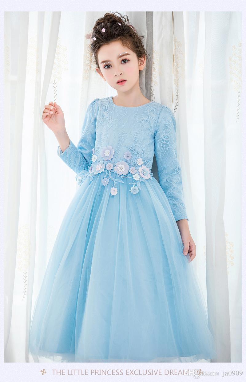 2018 Qiu Dong Long Sleeve Girls Catwalk Shows Dress Birthday Party ...