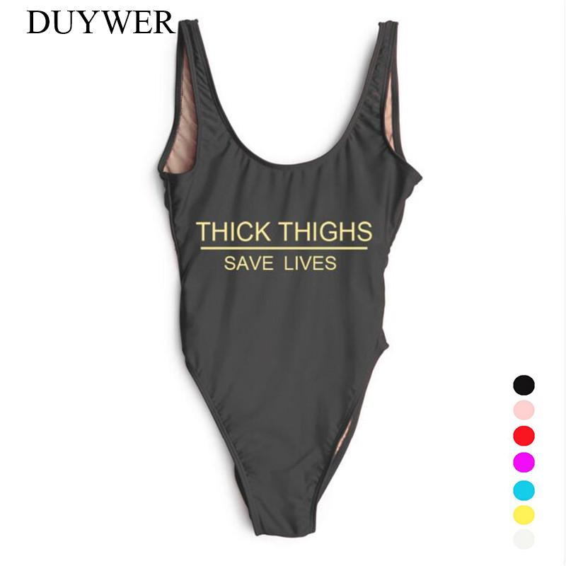 cda15dda91 2019 Swimwear Women One Piece Swimsuit THICK THIGHS SAVE LIVES Plus Size  Bathing Suit Sexy Bodysuit Mayo Summer Beachwear Badpak Red From  Shuangyin1998