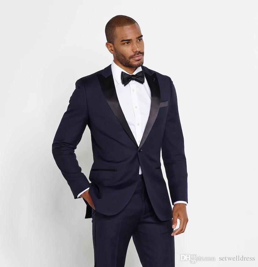 Yüksek Kalite Ucuz Koyu Mavi Düğün Erkekler Için Iki Adet Suits Slim Fit damatların Smokin Custom Made Erkekler Örgün Suits Ceket + Pantolon + Kravat