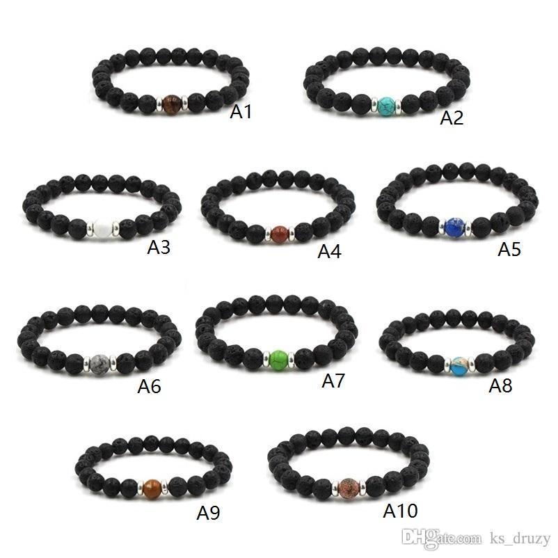 19 Stile Natürliche Schwarze Lava Stein Chakra Perlen Elastisches Armband Ätherisches Öl Diffusor Armband Vulkangestein Perlen Baum des lebens schmuck