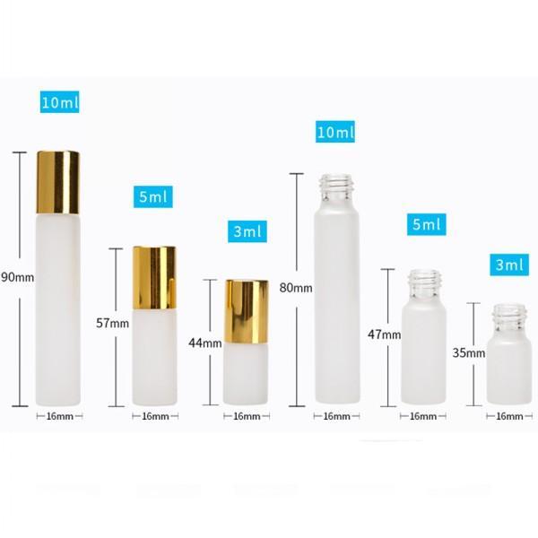 3ML 5ML 10ML Froested Rollon Bottle Stainless Steel Roller Ball Roll-on Bottle Essential Oil Fragrance Container Tube Golden Cap