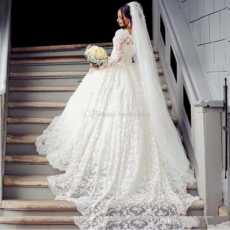 Gorgeous Ball Gown Lace Wedding Dresses 2018 Long Sleeve Off Shoulder Appliques Long Train Arabic Vintage Bridal Gowns Plus Size Customized