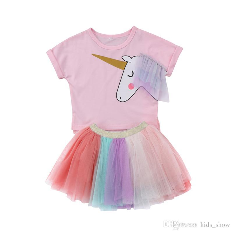 78fcac7ba0e7 2019 Kids Baby Girl Unicorn Set Top Short Sleeves T Shirt Rainbow Tutu Lace  Skirt Outfits Unicorn Set Clothes Cute Colorful Summer From Kids show