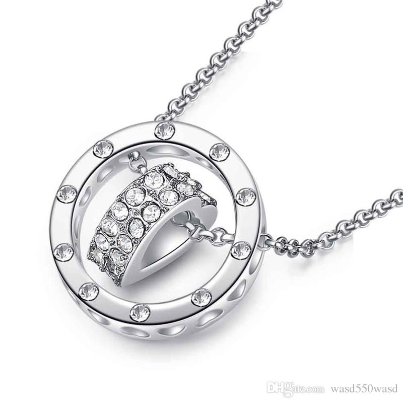 Fashion rose gold plated heart-shaped necklace with zircon charm jewelry for women top quality