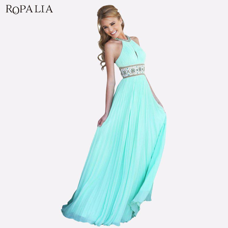 2018 ropalia vintage women solid party maxi dresses sexy summer ball prom gown formal bridesmaid long beach dress women vestidos from primali
