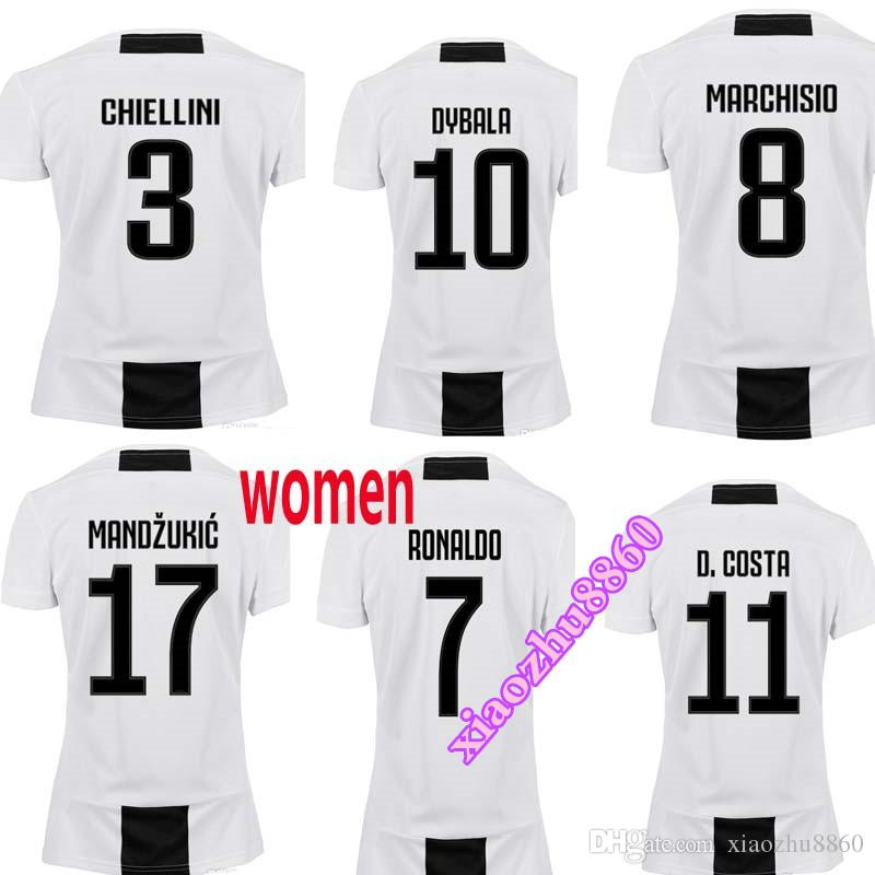 Juventus Femenino Camisetas De Fútbol 18 19 Juventus   7 RONALDO Camisetas  De Fútbol Femenino 2019 De Dama Uniformes De Fútbol   10 DYBALA Camiseta De  Niña ... bcabed4ab618d