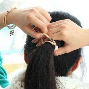 VIVILADY Fashion Bear Charms Bracelets Bangle Women Strong Elastic Black Rope Heart Elephant Key Rose Crown Hair Bands Gift