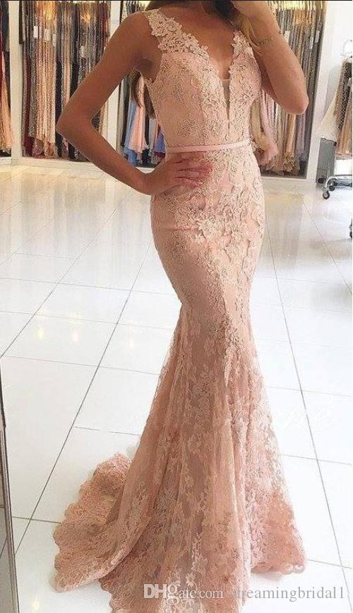 1ce65861fda Modest Rose Pink Mermaid Prom Dresses 2018 New Sleeveless V Neck Lace Formal  Evening Dress Applique Tull Beaded Illusion Party Gowns Prom Dresses Under  150 ...