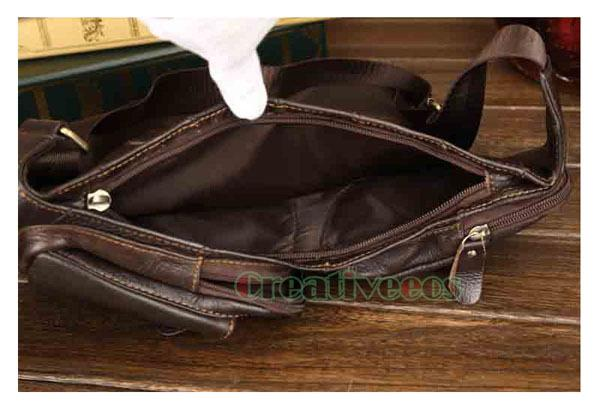 Men's Vintage Genuine Leather Travel Riding Motorcycle Shoulder Messenger Sling Chest Bag