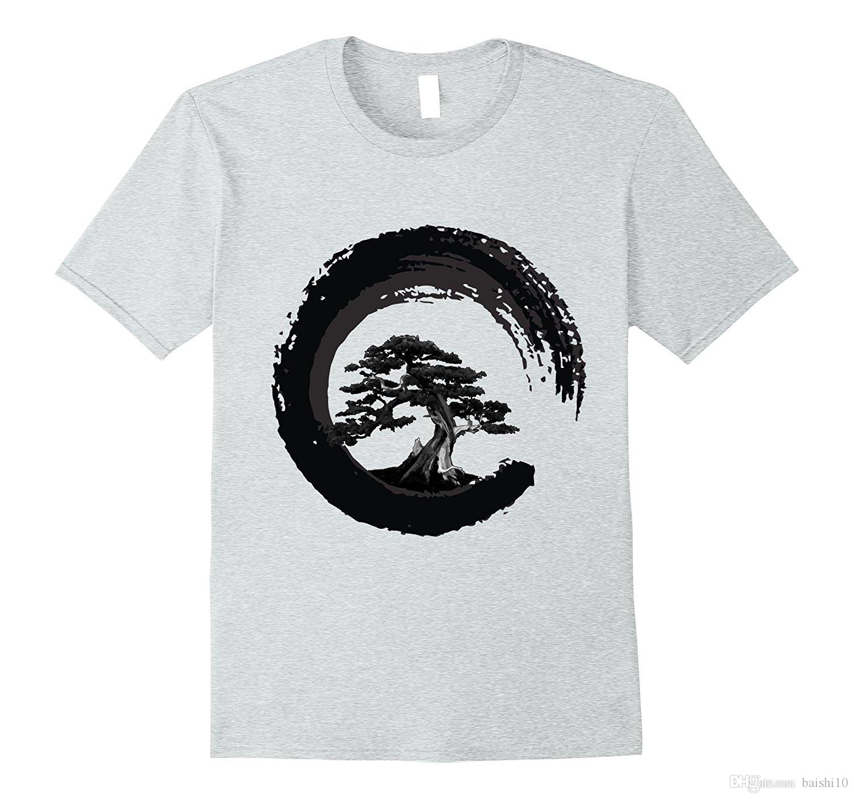 Compre Árbol De Los Bonsai En Enso Círculo Budista Zen Caligrafía Camiseta  Manga Corta De Algodón Moda Envío Gratis Camiseta Marca A  11.78 Del  Baishi10 ... 0629b5f9d8f