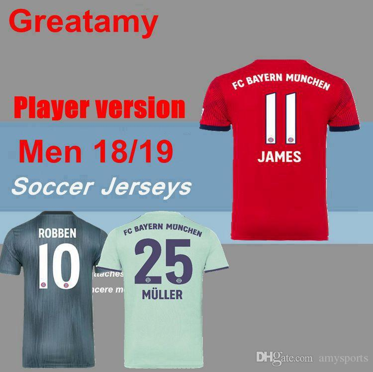 2018 Player Version Bayern Soccer Jerseys Munich Jersey LEWANDOWSKI ROBBEN  JAMES MULLER HUMMELS Home Away 3rd Football Shirt Kits Soccer Jerseys  Bayern ... 73759c3efae18