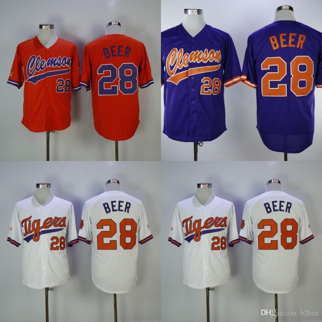 Stitched Home Seth Beer White Purple Clemson Orange Jersey Baseball 28 Away