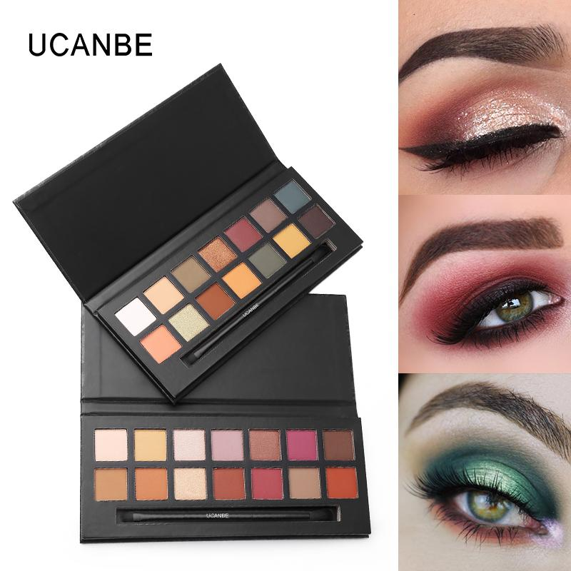 UCANBE 14 Colors Emancipation Eyeshadow Palette With Brush Metallic Nude Matte Shimmer Eye Shadow Waterproof Lasting Cosmetic