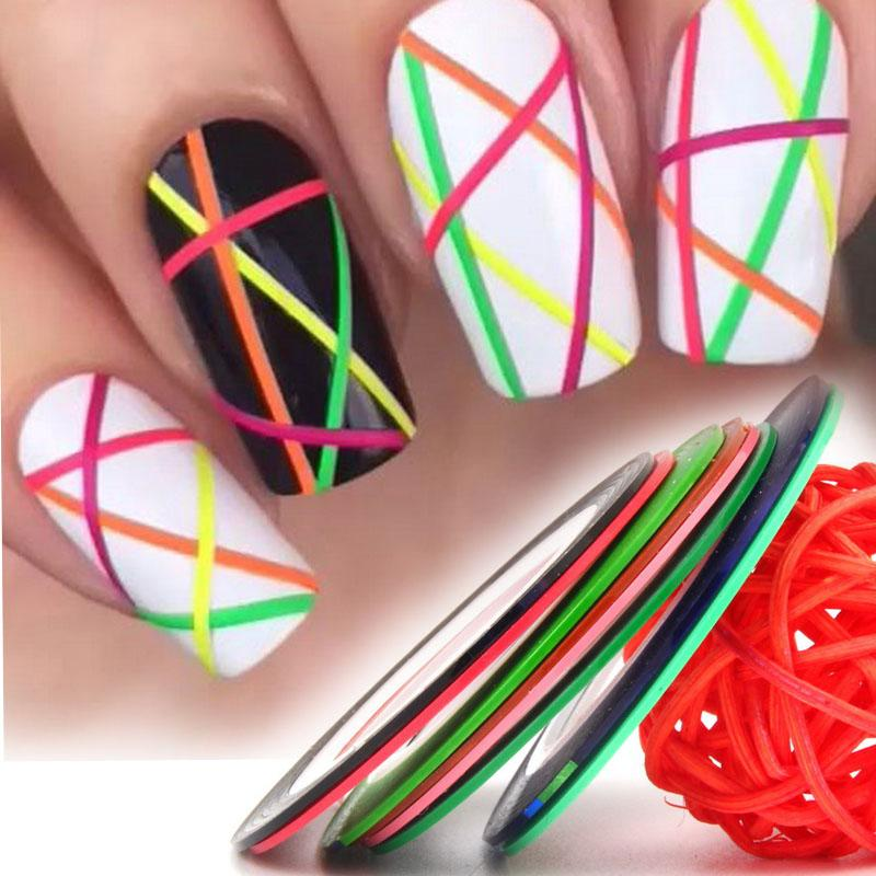 Rolls Vinyl Nail Strips Tape Line Manicure Nail Art Stickers Decals ...