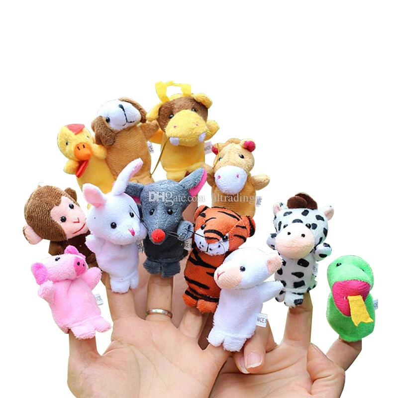 Chinese Zodiac 12pcs/lot Animals Cartoon Biological Finger Puppet Plush Toys Baby Favor Finger Dolls C4081