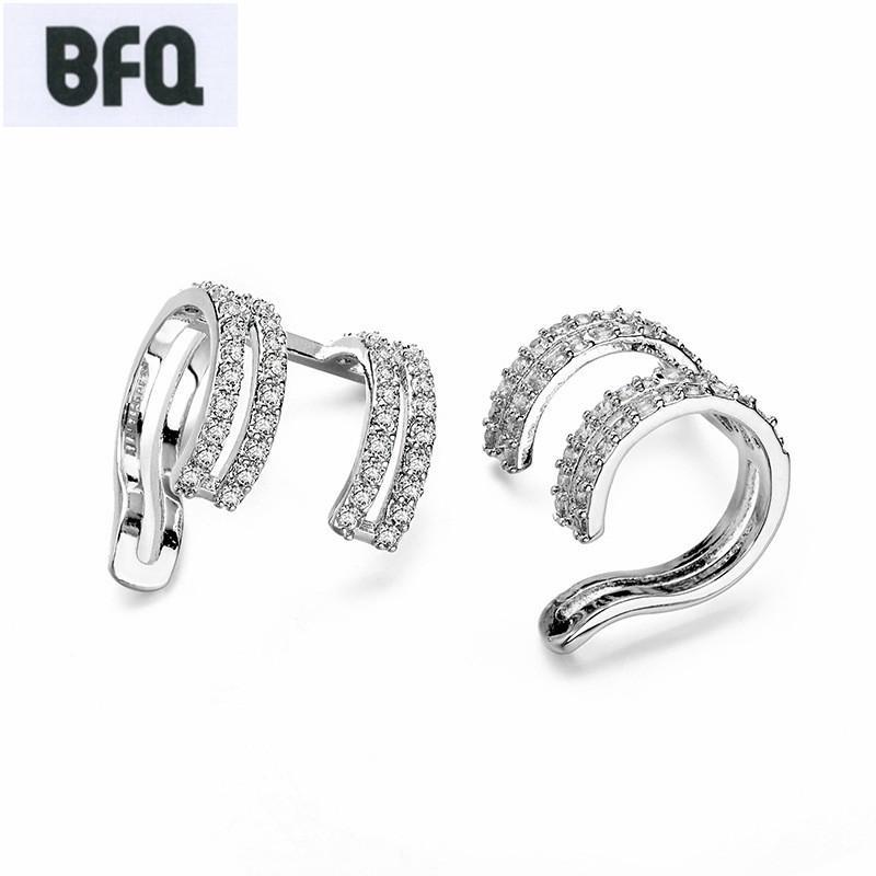 BFQ 2018 moda luxo cubic zirconia clipe brinco brincos de festa agradável pendientes ear cuff clip brincos sem presente piercing