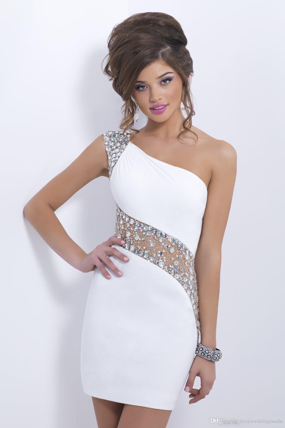 Bling kristalleri beyaz Kokteyl elbiseler tek omuz kısa sırf geri balo elbise balo elbise akşam parti elbisesi