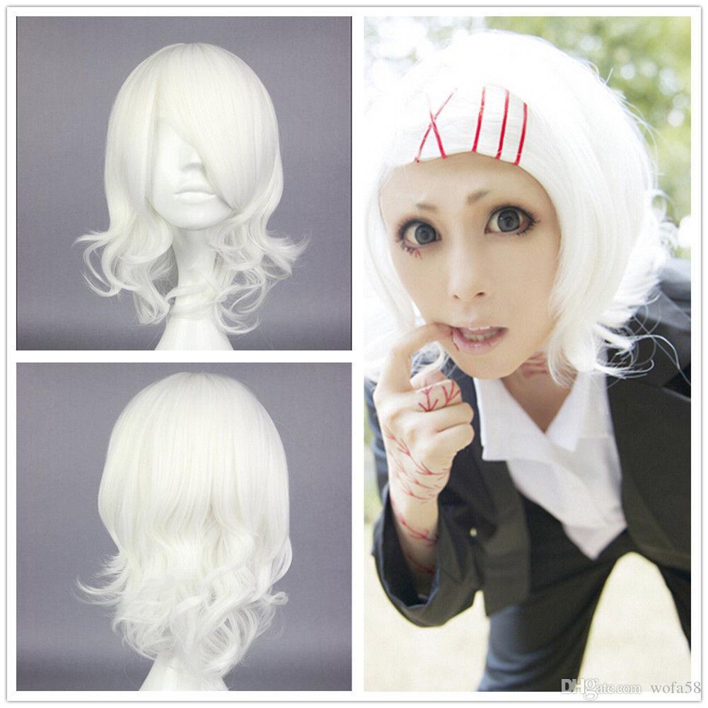 Tokyo Ghoul Juuzou Suzuya White Short Girls Cosplay Wigs Halloween Costume  Hair Full Cap Human Hair Wigs Human Hair Full Cap Wigs From Wofa58 c17c2c61866a