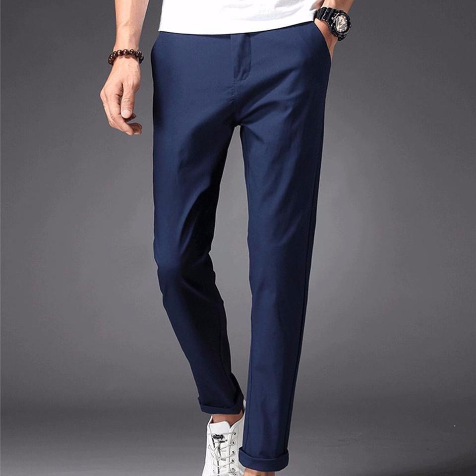 b80779ae8ae Compre Hombre Pantalones Casuales 98% Algodón 2% Spandex Primavera Verano  Otoño Blanco Moda Hombre Jóvenes Longitud Total Largo Chino Slim Hombre  Pantalones ...