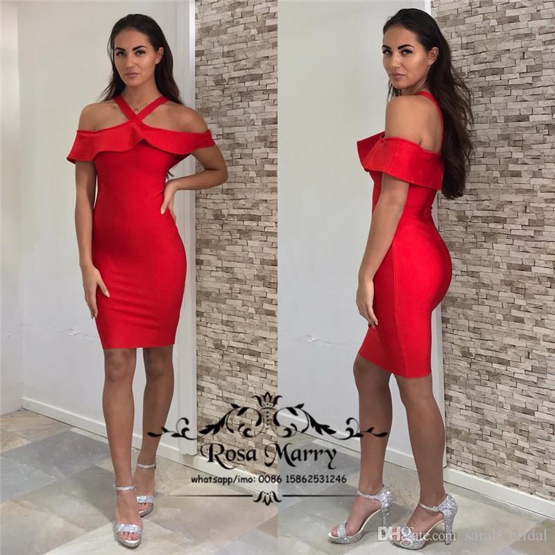 15485a95b Compre Vestidos De Coctel Baratos Baratos Rojos Cortos 2018 Cabestro Tallas  Grandes Vestidos De Noche Vestidos De Noche Vestido De Fiesta De Navidad  Simple ...