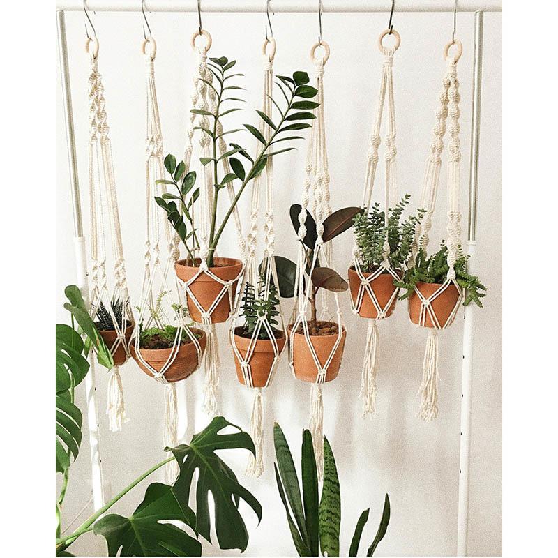 Handmade Nordic Flower Pot Net Bag Woven Plant Holder Wall