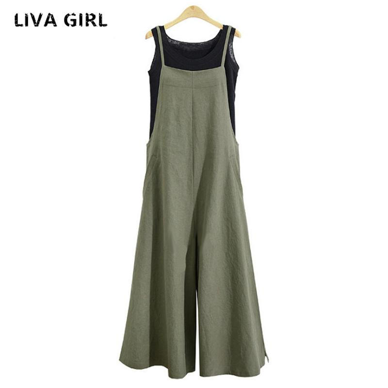 4aa5051950fbb 2018 Summer Women Cotton Linen Wide Leg Romper Solid Strappy Sleeveless  Jumpsuits Dungaree Loose Casual Bib Overalls M-5XL Jumpsuits Cheap  Jumpsuits 2018 ...