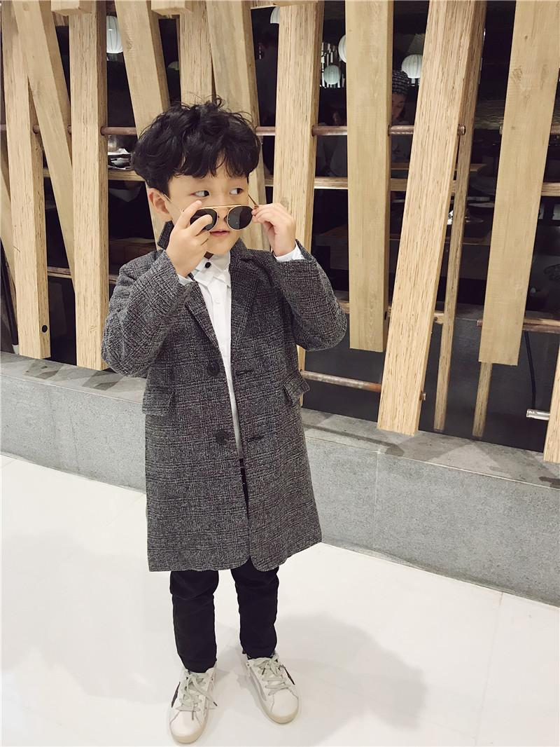 f558c2f0d Kids Boys Overcoat Winter New Fashion Houndstooth Wool Coat For Boys ...