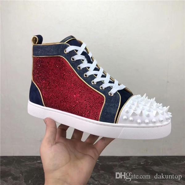 f6e02e0c21e High Top Men Casual Shoes High Quality Spikes Red Bottom Studded Sneakers  Shoes Women Men Luxury Designer Flat Casual Red Sole Platform Shoes Hiking  Shoes ...
