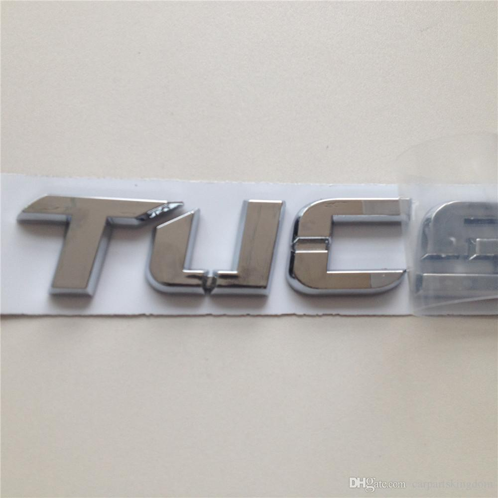 Custom Chrome Silver Tucson Car rear tail emblem badge sticker nameplate logo accessories with strong tap