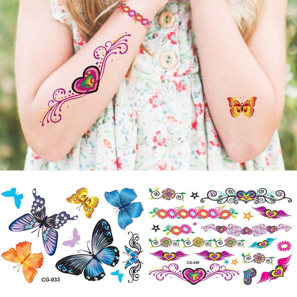 Xmas Cute Butterfly Bracelet Temporary Tattoo Cartoon Love Girls ...