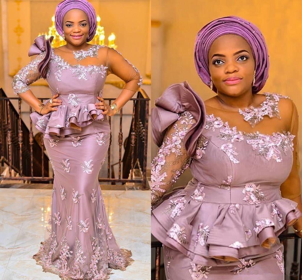 Robes de Soirée Sirène Style Modeste 3/4 Manches Longues Applique Dentelle Perles Nigérian Africain Robes De Bal Long Longueur De Plancher