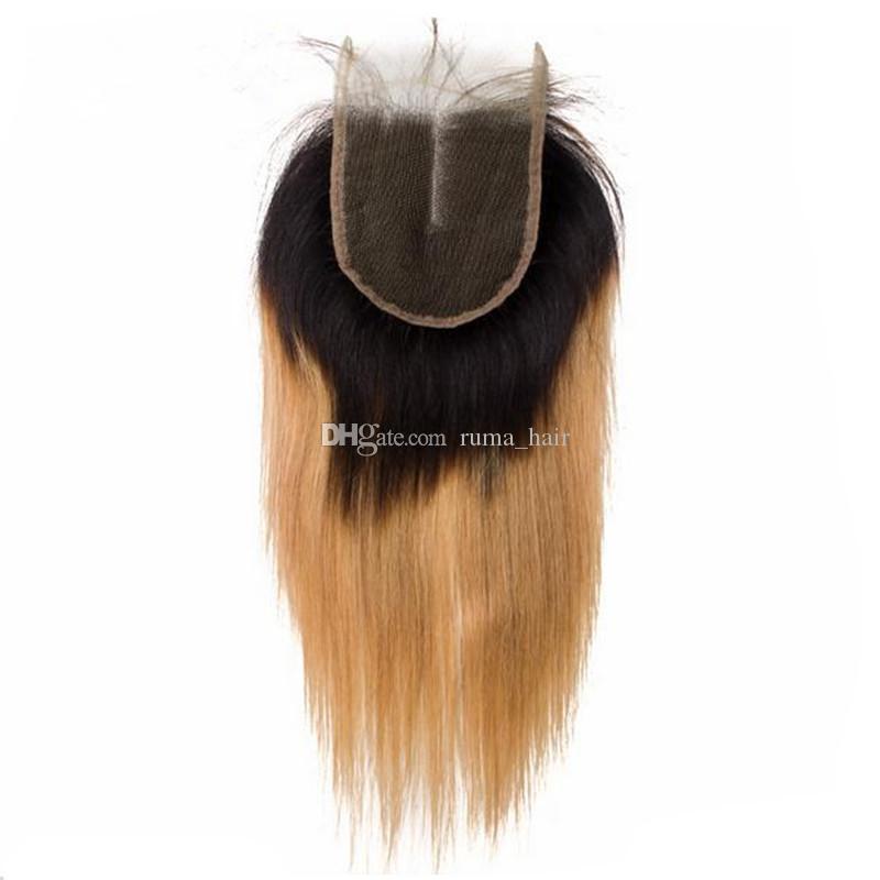 Dos tonos Honey Blonde Virgen del pelo humano teje con el encierro del cordón de la extensión del pelo de la fresa europea Rubio Ombre Con 4X4 encierro de la tapa [