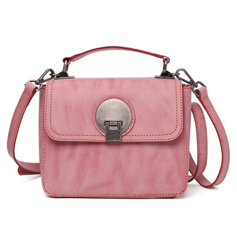 270f4704b3eb Nesitu Fashion Vintage Fog Wax Vegetable Tanned Genuine Leather Small Women  Messenger Bags Female Handbag Shoulder Bag M8681 Western Purses Leather  Backpack ...