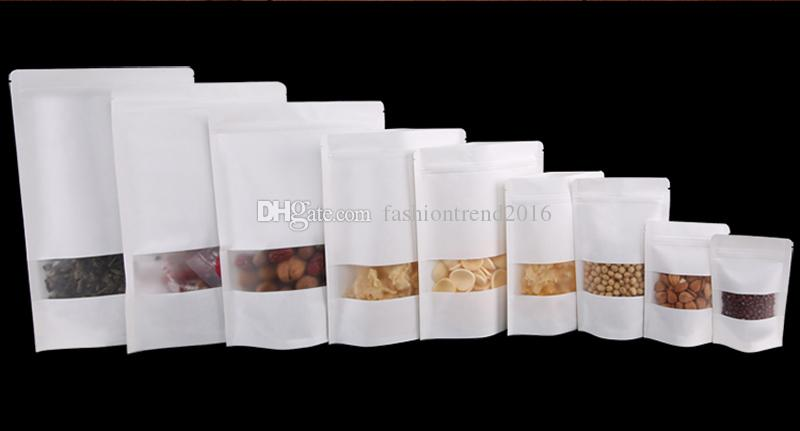White Stand up Paper Frosted Packaging Bag 9 Size Snack Biscuit Tea Packaging Storage Ziplock Bag White Paper Gift Pouches with Clear Window
