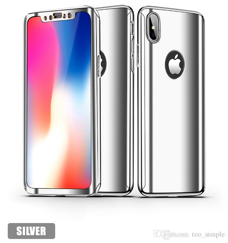For iPhone X Cover Ultra Slim 360 Full Body Protection Plating Mirror Case With Tempered Glass Screen Hard For iphone 6 7 Plus