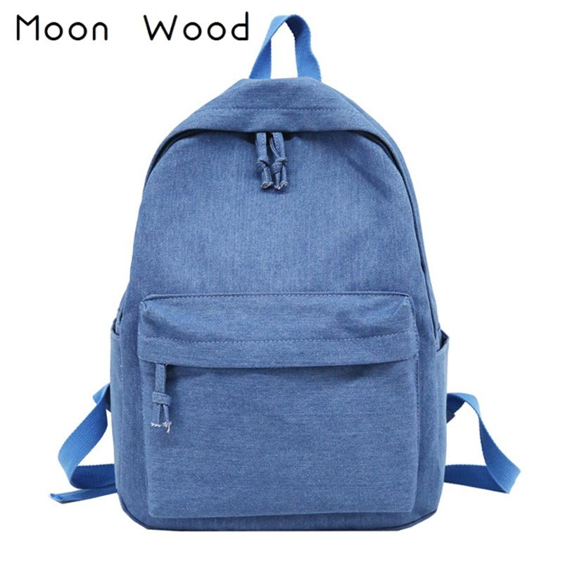 4e98d6a474 Moon Wood Simple Solid Denim Blue Canvas Backpack Women Bag College  Students Travel Backpack School Bags For Teenager Girls 2018 Black Backpack  Camera ...