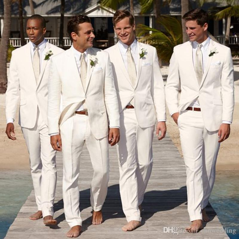Terno Masculino White Men Suits for Wedding Tuxedos Slim Fit Groomsmen Best Man Suits Beach Wedding Jacket+Pants Prom Wear