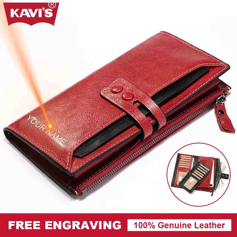 KAVIS Free Engraving Genuine Leather Women Wallet Female Perse Coin Purse  Portomonee Walet Lady Gift Handy Clutch Card Holder