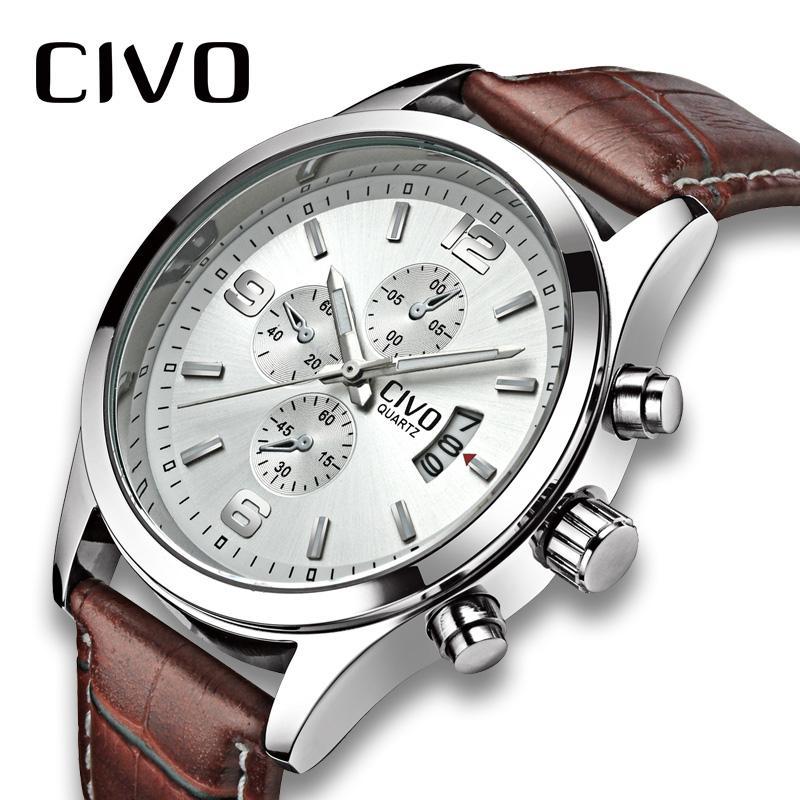 288e2095 Compre CIVO Reloj De Hombre De Cuero Genuino Relojes De Pulsera De Cuarzo  Resistente Al Agua Calendario Para Hombre Reloj Analógico De Negocios Para  Hombre ...